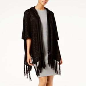 Steve Madden Sequin and Fringe Hooded Poncho OS